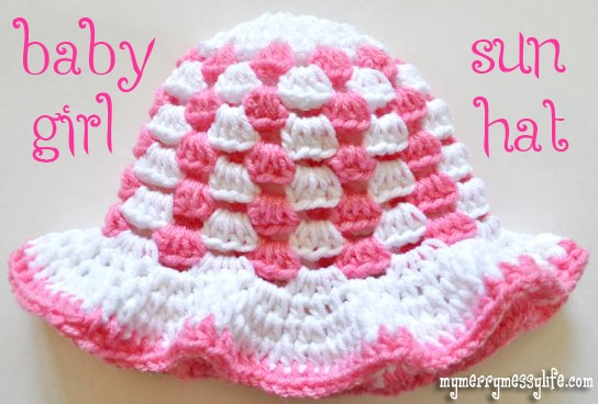 Crochet Granny Stitch Sun Hat for Baby Girls