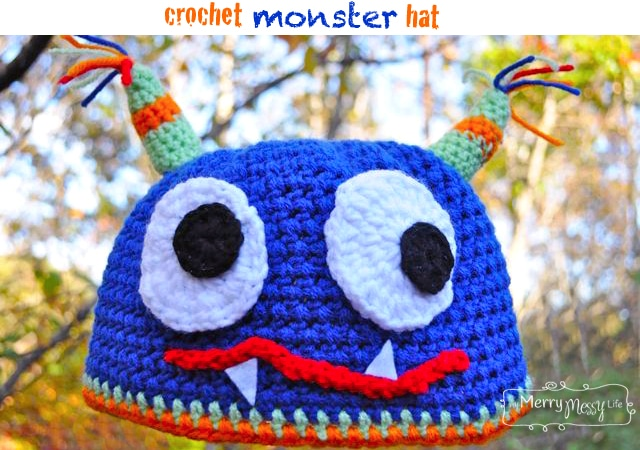 My Merry Messy Life: Crochet Monster Hat - Free Crochet Pattern