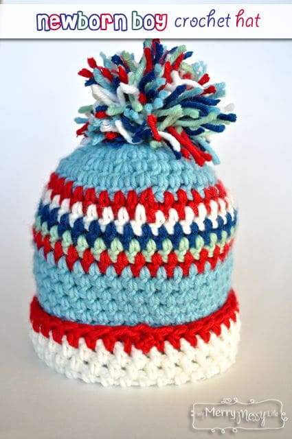 Baby Boy Crochet Hat with Cuff and Pom-Pom – Free Pattern