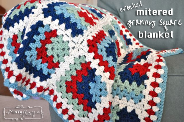 Crochet Patterns Granny Square Baby Blankets : Crochet Baby Blanket - Mitered Granny Square