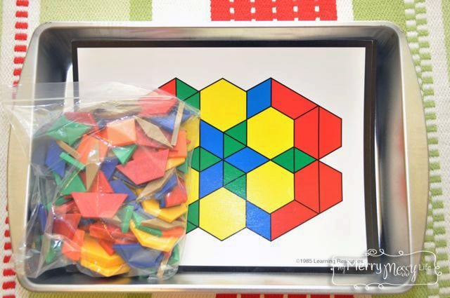Montessori Inspired Preschool Tray Activities - Pattern Blocks