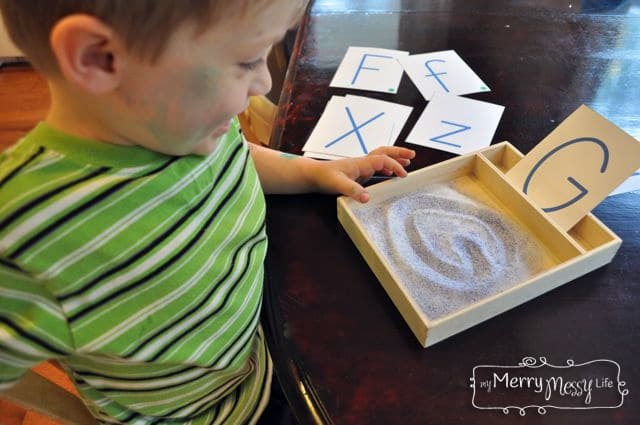 DIY Montessori Sand Writing and Drawing Tray – Preschool Learning Activity