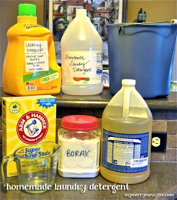 Homemade Laundry Detergent Ingredients and Supplies