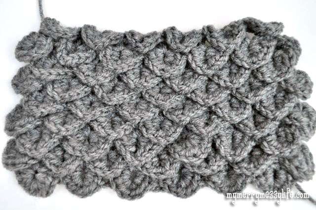 Crochet Crocodile Stitch Tutorial - Continue Steps 6 to 12