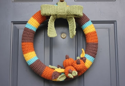 Crocheted Fall Wreath by Repeat Crafter Me