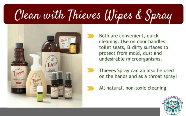 Powerful non-toxic cleaning with Thieves Wipes and Spray