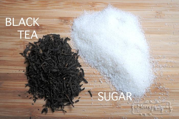 You need black tea and sugar to make kombucha