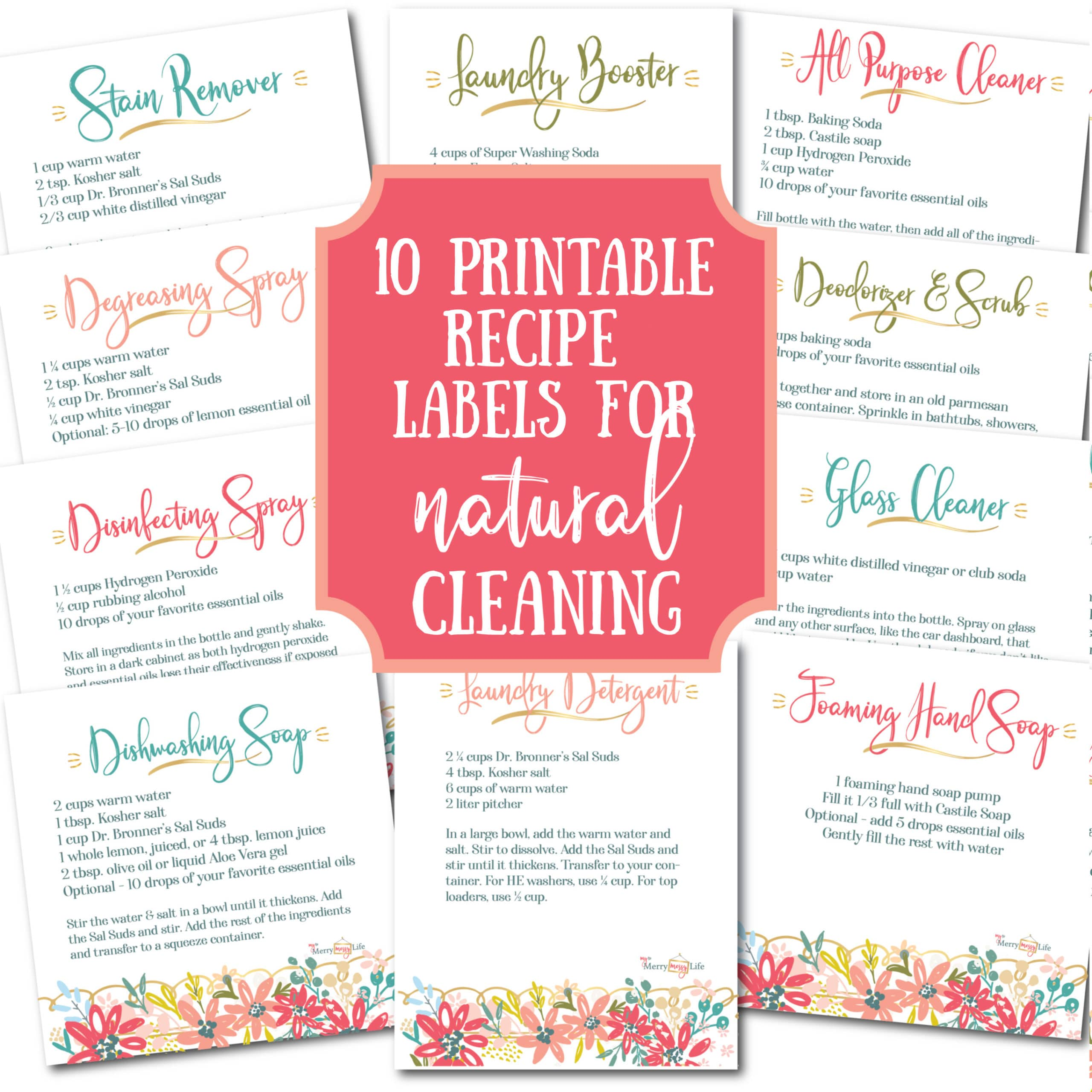 10 Recipe Labels for Natural Cleaning & Laundry {Printable}