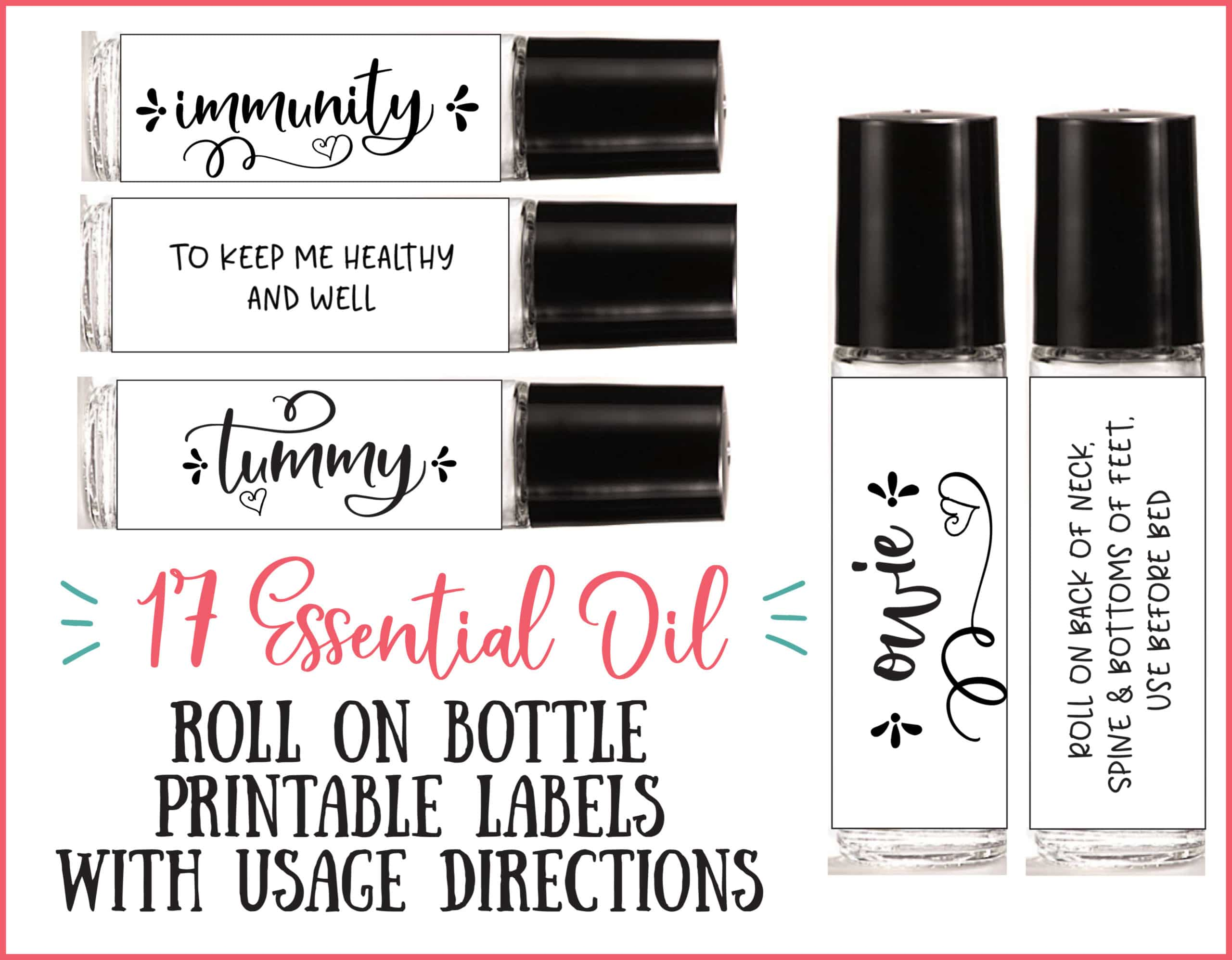 17 printable roller bottle labels with essential oils